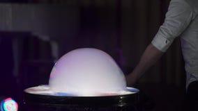 Big soap bubble. Slow motion stock footage