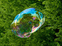 Big soap bubble. Big colorful soap bubble floating Royalty Free Stock Photography