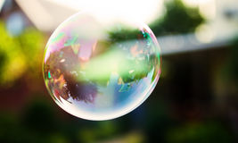Big soap bubble flying. Close up photo Stock Images