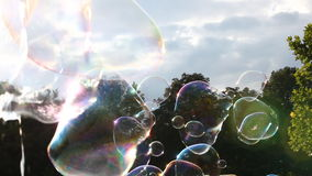 Big soap bubbles in levitation stock video