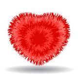 Big soft red heart. Fur effect, cute and cozy isolated vector illustration on white background stock illustration