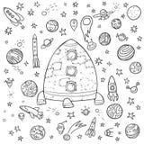 Big space doodle set Royalty Free Stock Photos