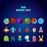 Big space set. Set of space elements. planets, rockets and monsters royalty free illustration