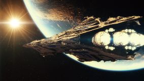 Big space ship in orbit above planet earth in 4k