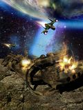 Spatial Spaceship Attack. Big spaceship wrecked on an asteroid, being attacked by several space fighters, close to a blue planet similar to Earth vector illustration