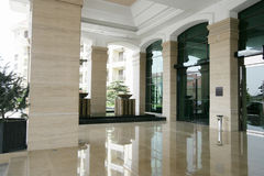 A big spacious clean luxurious hotel entrance Stock Photos