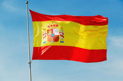 Big spain flag waving Royalty Free Stock Images