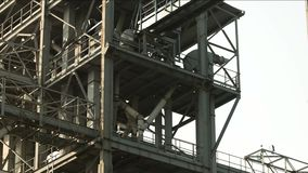Big span frame steel factory. White sky background stock video footage