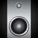 Big speaker on brushed metallic background Royalty Free Stock Photography
