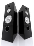 Big Speakers Wide. Big Audio Speakers with reflection. 3D render. Wide shot Stock Photography