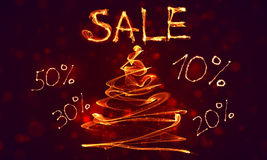 Big special hot sale offer fire background. Big final sale, special hot sale offer background in fire, wave and bokeh with holiday fir tree. Banner or poster for Royalty Free Stock Photos