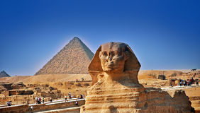 The big sphinx and pyramids Stock Photography
