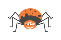 Big spider with many eyes and friendly smile. Big spider with many eyes, fat orange body with black spots and friendly smile with white teeth isolated vector Stock Images