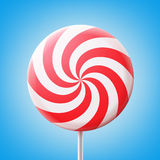 Big spiral lollipop. Vector big round spiral red and white lollipop on stick isolated on blue background Royalty Free Stock Image