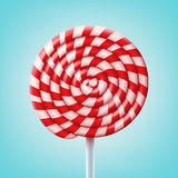 Big spiral lollipop. Vector big round spiral red and white lollipop on stick isolated on blue background Royalty Free Stock Photography