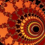 A big spiral on orange background. Digital art. A big spiral on orange background Royalty Free Stock Photos