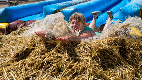 Big splash at the end of the slide Stock Images