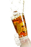 Big splash in ice lemon tea Stock Photography
