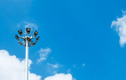 Big Spotlight Tower at The Corner on Blue Sky with Copyspace to input Text Royalty Free Stock Photo