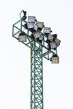 Big spotlights lighting tower Isolated Royalty Free Stock Image