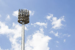 Big spotlights lighting tower at an sport arena stadium Stock Photography