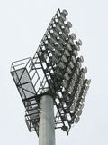 Big spotlights lighting tower at an stadium Stock Photography