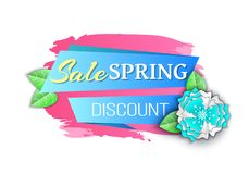 Big Spring Discount Reduced Price Seasonal Offer. Vector. Banner with decoration, summer flowers decor, petals and foliage origami and brush style, text vector illustration