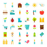 Big Spring Garden Flat Objects Set Stock Photography