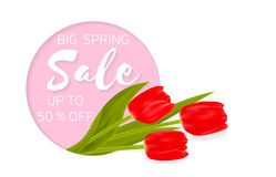 Big Spring sale background with beautiful flowers. Royalty Free Stock Photos