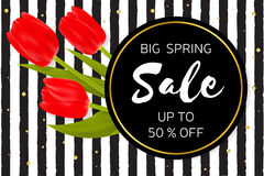Big Spring sale background with beautiful flowers. Royalty Free Stock Image