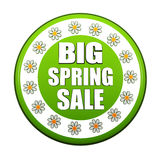 Big spring sale green circle label with flowers Royalty Free Stock Image