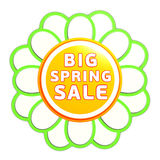 Big spring sale green orange flower label Royalty Free Stock Photos