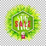 Big spring sale label on transparent background Stock Photography