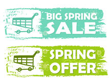 Big spring sale and offer with shopping cart signs, green drawn Stock Photos