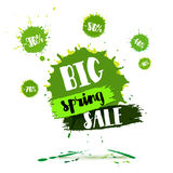 Big Spring SALE poster. Watercolor banner with ink splashes and brush hand lettering for business. vector Amazing discounts flyer Stock Image