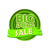 Big spring sale, round drawn label Royalty Free Stock Image