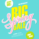 Big Spring Sale. This weekend special offer banner with handwritten element. Discount up to 50% off. Royalty Free Stock Photos