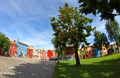 Big square on the island of BURANO near Venice in Italy Royalty Free Stock Photography