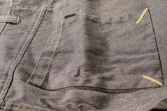 Big square pocket from grey pants Royalty Free Stock Images
