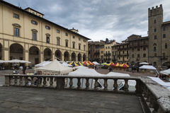 Big square or vasari arezzo tuscan italy europe Royalty Free Stock Image
