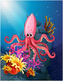 A big squid under the sea with the corals Royalty Free Stock Photo