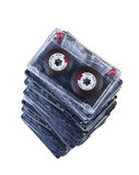 Big stack audio cassettes isolated. Royalty Free Stock Image