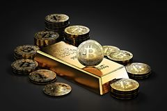 Big stack of Bitcoins and gold bar gold ingot. Bitcoin as a future gold. Most precious commodity in the world. 3D rendering stock illustration