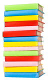 Big stack of books in hard cove. R, view from back, isolated royalty free stock images