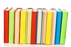 Big stack of books in hard cover, view from back Stock Photos