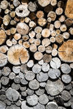 Big stack of a chopped and aged wood Stock Photography