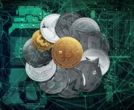 Big stack of cryptocurrencies on a circuit board with a golden bitcoin in the middle. royalty free illustration