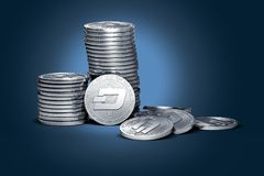 Big stack of Dash coins on gently lit dark blue background. Dash coin growth concept. New virtual money, 3D render royalty free illustration
