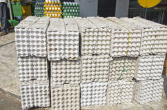 Big stack empty egg boxes in Mumbay Bombay market Stock Image