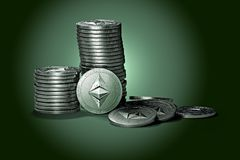 Big stack of Ethereum classic ETC coins on gently lit green background. ETC growth concept. New virtual money, 3D render vector illustration